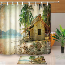 "71"" Waterproof Fabric Shower Curtain Bathroom home decor Old house and palm tree"