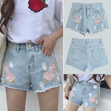 Women Embroidered Denim Shorts Ripped High Waist Destroyed Hole Hot Pants Q4G9