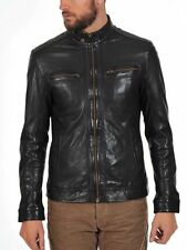 New Men's Genuine Real Lambskin Leather Motorcycle Slim fit Biker Jacket TU237