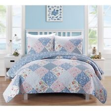 Twin Full Queen King Bed Blue White Pink Floral Patchwork 3 pc Quilt Set Bedding