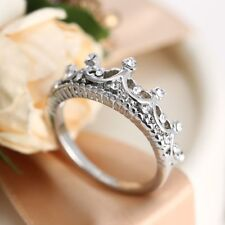 925 Silver Plated Rings Rhinestone Wedding Ring Crown Finger Band Size 5 6 7 8