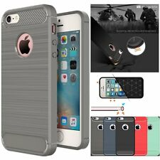 Shockproof Hybrid Brushed Carbon Fiber TPU  Case Cover  For Apple iPhone 5 5S SE