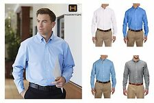 Harriton Men's Long Sleeve Oxford Button up shirt w/ Stain-Release XS-6XL m600