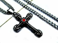 Stainless Steel Men Rhinestone Silver Cross Pendant 6mm Curb Chain Necklace