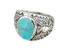 925 Sterling Silver Men's German Engraved Eagle Oval Genuine Turquoise Ring 11gr