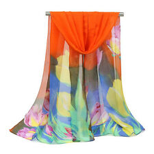 63INCH Fashion Women Floral Scarf Wrap Silk Chiffon Shawl Stole Scarves