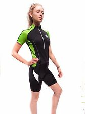 New Santini Womens Short Sleeve Cycling Jersey Size M Green/Black White/Black