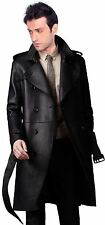 Brand New Men's Genuine Real Lambskin Soft Leather Trench Coat Long Jacket TC001