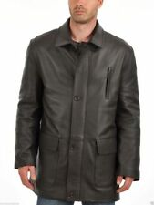 Brand New Men's Genuine Real Lambskin Soft Leather Trench Coat Long Jacket TC013