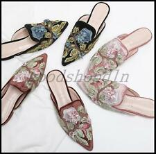 2017 Womens Floral Embroider Flats Slingback Loafers Velvet Pointed Toe Shoes US