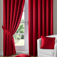 Red Jacquard Curtains - Fully Lined Faux Silk Ready Made Pencil Pleat Curtain