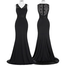 BLACK Sleeveles Long Dress Lace Evening Formal Party Bridesmaid Prom Plus Size
