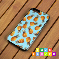 PINEAPPLE PRINT Phone Case Cover Blue Tropical for iPhone Samsung Hard/Rubber