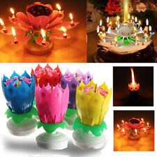 Cake Topper Birthday Lotus Flower Decoration Candle Blossom Musical Rotating.