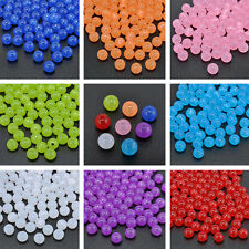 100 Pcs Acrylic Round Cats Eye Loose Charm Beads Craft Jewelry Finding DIY 8mm
