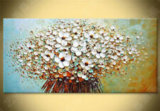 Huge Art Oil Painting Modern Abstract White Flowers Landscape Canvas With Framed