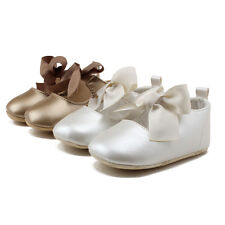 Newborn Baby Girls Princess Mary Jane Big Bow First Walkers Dress Baptism Shoes