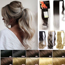 US 100% Real Natural Clip In Hair Extension Pony Tail Wrap Around Ponytail human