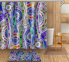 "Bathroom Mat Shower Curtain 72/79"" Waterproof Fabric Abstract Art  Decor 4016"