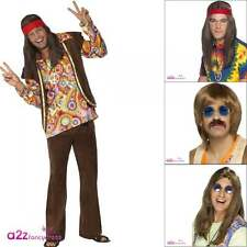 Mens Psychedelic Groovy 1960's 60s Hippy Hippie Adult Fancy Dress Costume Wig