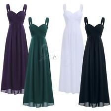 Formal Long Chiffon Pleated Bridesmaid Women Evening Prom Ball Gown Party Dress