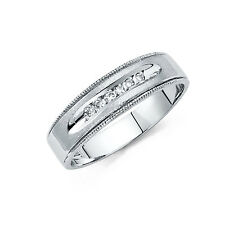 14k Solid White Gold 6 mm Round Cut Diamond Men's Wedding Band Ring