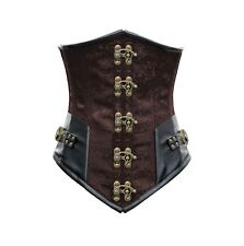 Cincher corset brown pattern floral with clasps and webbing/ straps steampunk