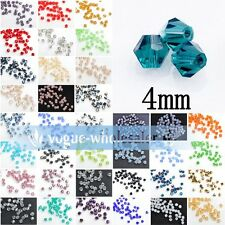 Wholesale 500pcs 4mm Bicone Crystal Glass Faceted Bipyramid Loose Spacer Beads