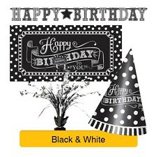 BLACK & WHITE Birthday Party Range - Tableware Balloons Banners & Decorations