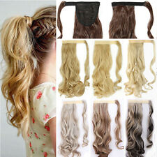 100% Long Thick Natural Hair Wrap Around Style Ponytail Clip in Hair Extension 3
