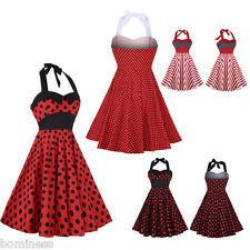 Zaful New Vintage Polka Dot Print Dress Red Stripe Halter Neck Sleeveless Dress