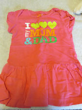 """Carter's Pink Cotton Dress """"I Love Mom And Dad!"""" 9 Months"""