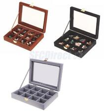 12 Slots Glass Top Ring Jewelry Box Showcase Necklace Case Display Organizer