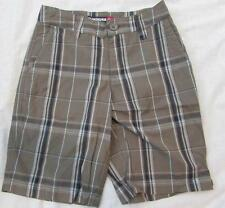 QUIKSILVER boys 22 8 slim olive green plaid skater cotton shorts NEW