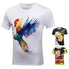 3D Funny Print Goku Rooster Graphic Tee Mens Short Sleeve O Neck Casual T-shirts
