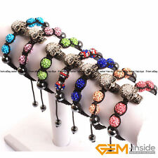 "Handmade Weave 10mm Pave Rhinestone Disco Ball Beads Skull Bracelet 7""Adjustable"