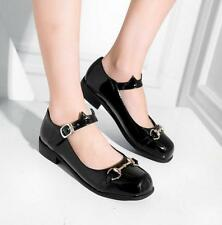 SZ35-43 Women's Patent Leather Square Toe Mary Janes Shoes Low Heel Chunky Pumps