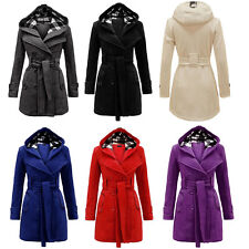 Winter Women Hoodie Coat Outwear Double Breasted Belt Long Slim Cardigan Jacket