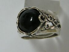 Fine Sterling Silver 925 Ring Onyx Black Cocktail Band Ring