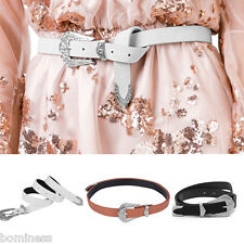 Pu Bellt Womens Luxurious Flower Carving Single Prong Buckle Slim Leather Belt