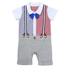 Newborn Baby Boys Kids Wedding Party Formal Suit Bowtie Romper Gentleman Outfit