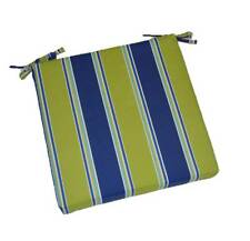 In / Outdoor Blue Green Stripe Patio Universal Foam Chair Cushion - Choose Size