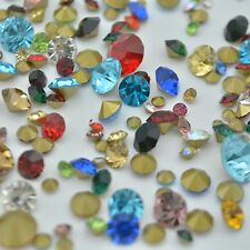 MIXED Sizes and Colors Point back Rhinestones Crystal Glass Chatons Nail Art U1