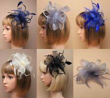 LOOPED NET RIBBON & FEATHER COMB FASCINATOR, WEDDING, RACES, OCCASION, FORMAL