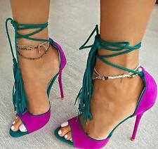 Women Ankle Strappy Open Toe Suede Sexy Pumps High Heels Stilettos Sandals Shoes