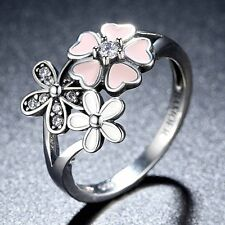 Lady Charm 3 Flower Rhinestone Crystal Band Ring Alloy Jewelry Silver Color 1PC