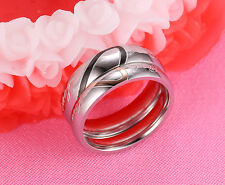 """Promise Engagement Ring Wedding Band Stainless Steel """"Real Love"""" Heart Couple"""