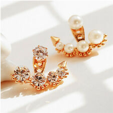 Elegant Fashion Women Lady Girls Crystal Rhinestone Flower Ear Stud Earrings BKB