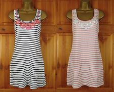 NEW EXCHAINSTORE STRIPED WHITE NAVY OR PINK COTTON SUMMER TUNIC TOP DRESS UK6-18