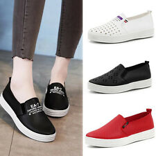 Womens Casual Loafers Slip On Comfort Flats Pu Leather Shallow Casual Shoes Sz